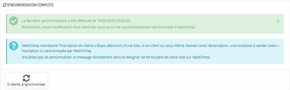 Première synchronisation de votre liste clients avec Mailchimp